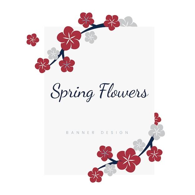 Quadro de flores japonesas Vetor grátis
