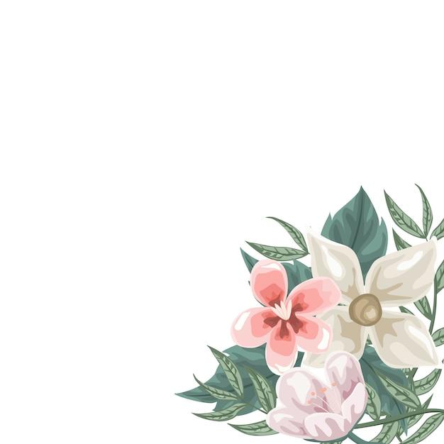 Quadro de flores Vetor Premium