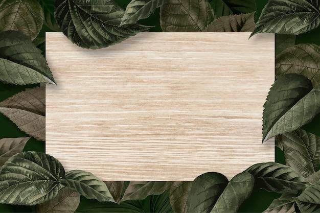 Quadro de folha de floresta Vetor grátis