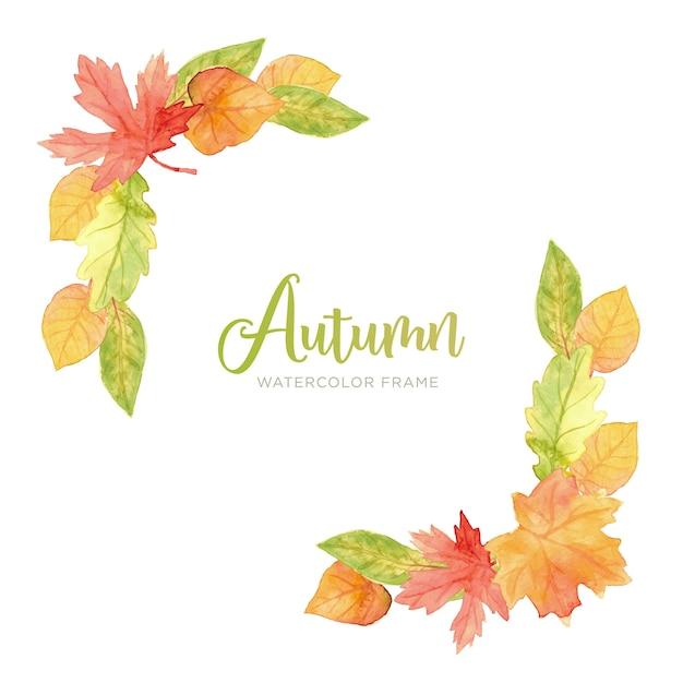Quadro de folhas de outono em aquarela Vetor grátis