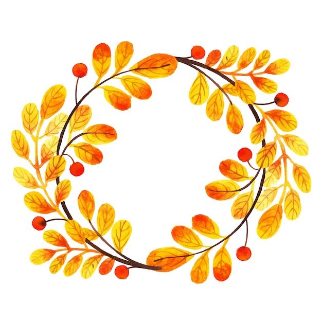 Quadro de folhas de outono linda aquarela Vetor grátis