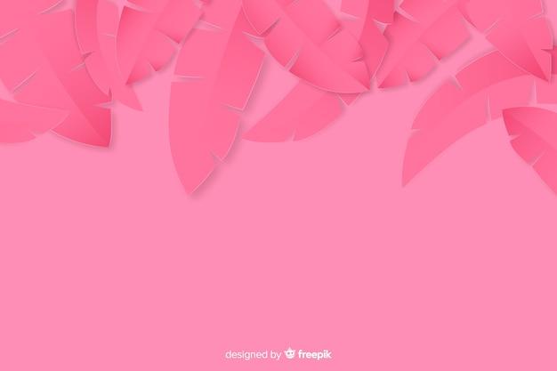 Quadro de folhas de palmeira de papel tropical em rosa Vetor grátis