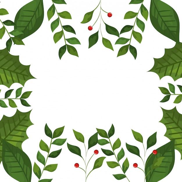 Quadro de folhas e galhos com ícones de natal de sementes Vetor grátis