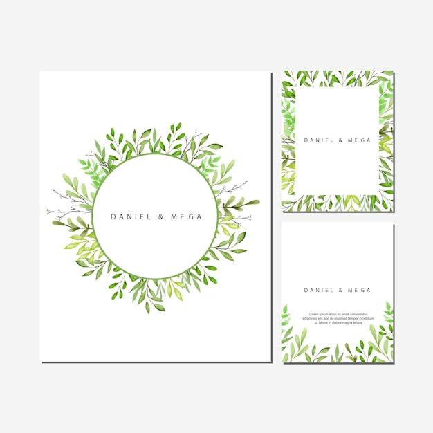 Quadro de folhas e ramos verde para convite de casamento Vetor Premium