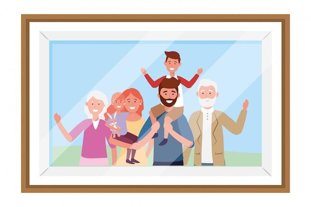 Quadro de foto de personagem de desenho animado de avatar de família Vetor Premium