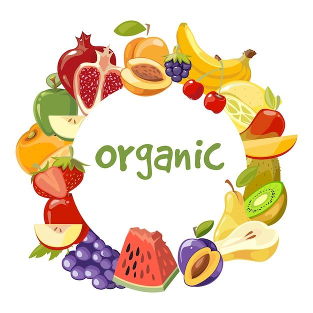 Quadro de frutas orgânicas de vetor isolado Vetor Premium