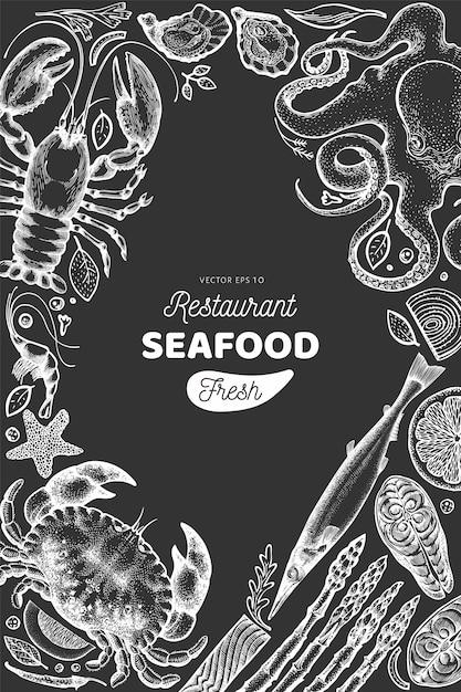 Quadro de frutos do mar e peixes Vetor Premium