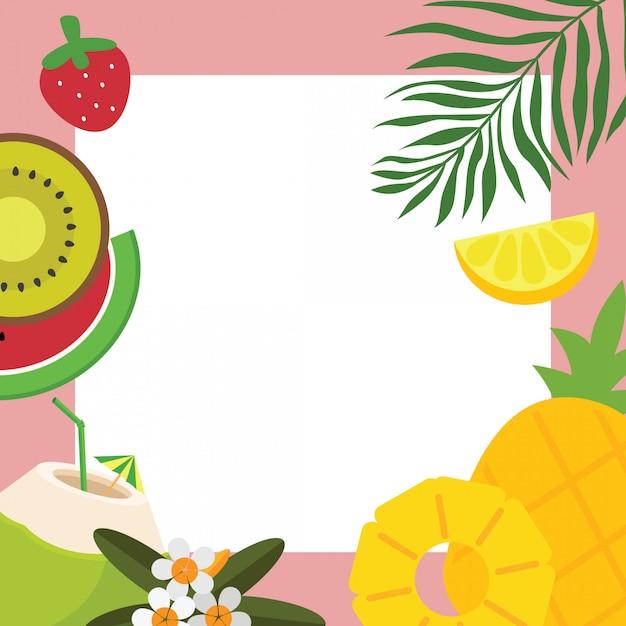 Quadro de fundo de frutas tropicais, flores e folhas Vetor Premium