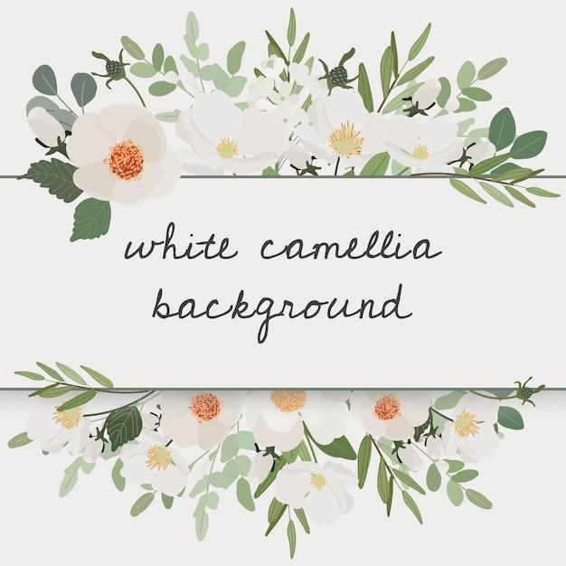 Quadro de grinalda de buquê de flores de camélia branca Vetor Premium