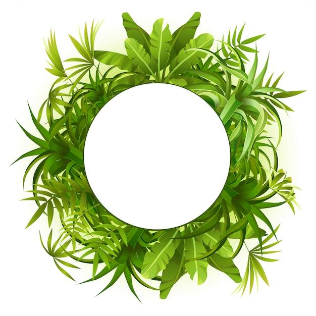 Quadro de grinalda de plantas tropicais e folhas. Vetor Premium