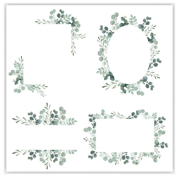Quadro de grinalda em branco com eucalipto verde Vetor Premium