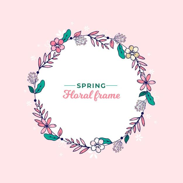 Quadro de grinalda floral primavera desenhada de mão Vetor grátis