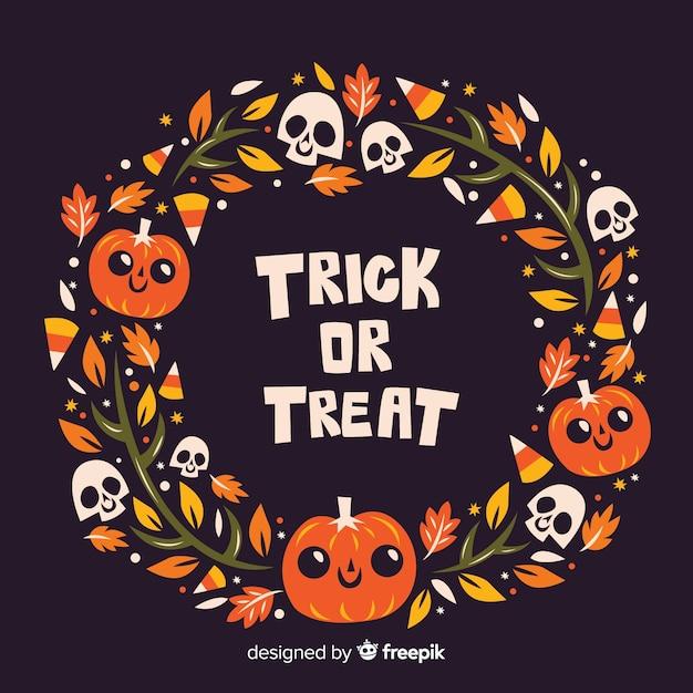 Quadro de halloween de doces ou travessuras de design plano Vetor grátis