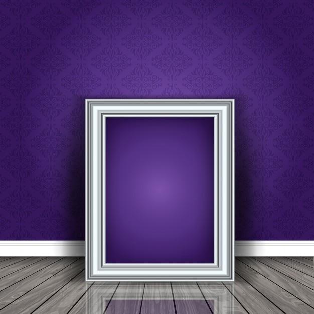 quadro de imagem em branco encostado a uma parede em um quarto Vetor grátis