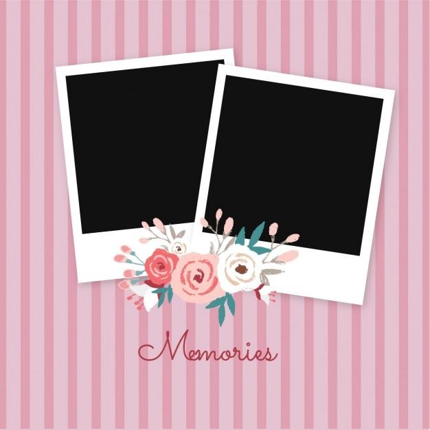 Quadro de imagem polaroid com rosas Vetor grátis