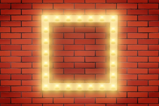 Quadro de lâmpada retro na parede de tijolos. Vetor Premium