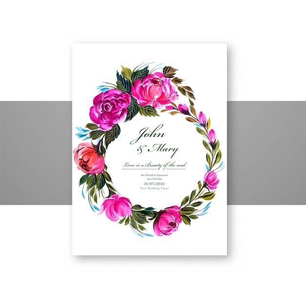 Quadro de lindas flores circulares com modelo de cartão widding Vetor grátis