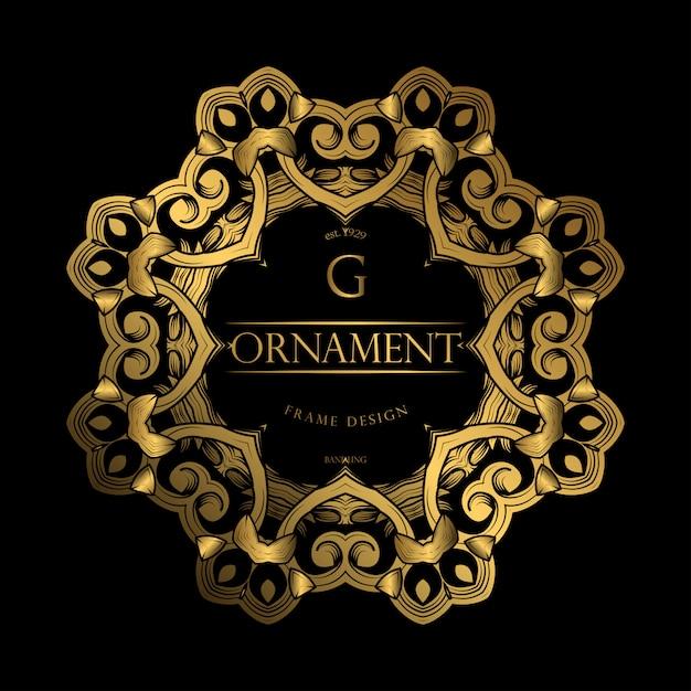 Quadro de luxo com cor dourada Vetor Premium