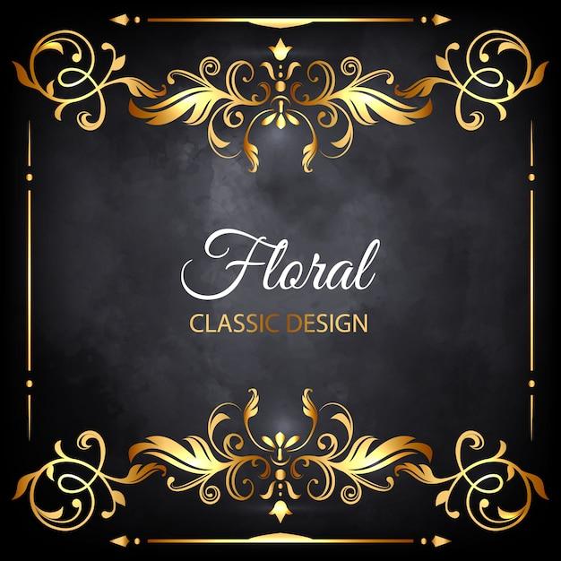 quadro de luxo floral dourado Vetor grátis