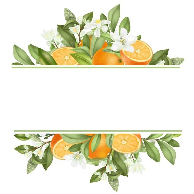 Quadro de mão desenhada florescendo galhos de laranjeira, flores, laranjas em fundo branco Vetor Premium