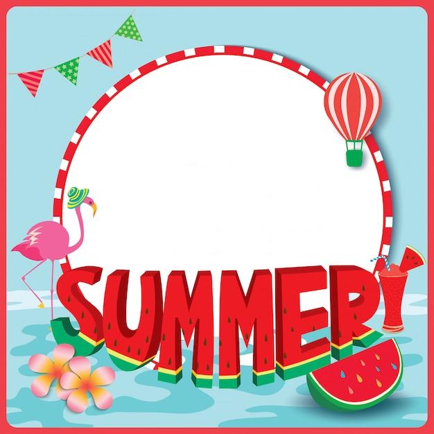 Quadro de melancia de verão Vetor Premium