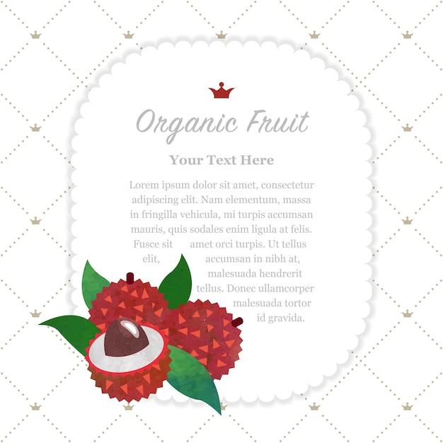 Quadro de memorando de frutas orgânicas de textura aquarela colorida lichia Vetor Premium