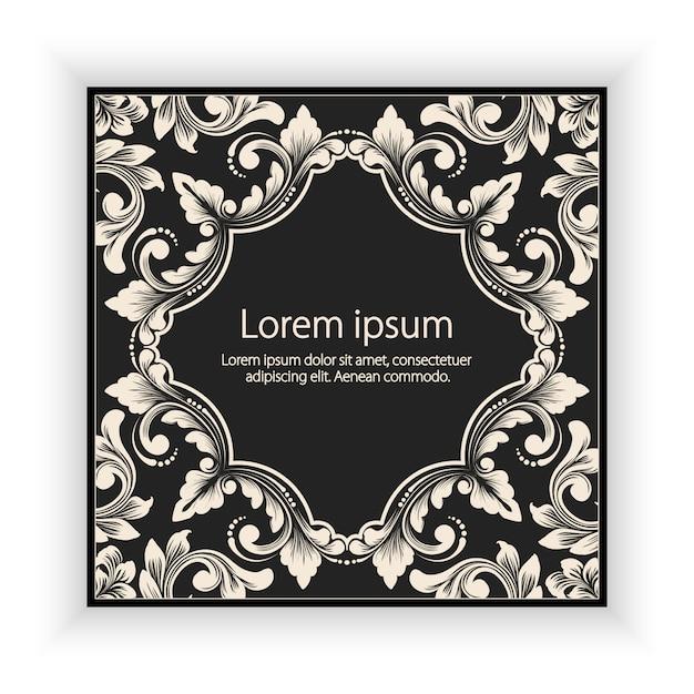 Quadro de monograma floral e geométrico de vetor em cinza escuro Vetor grátis