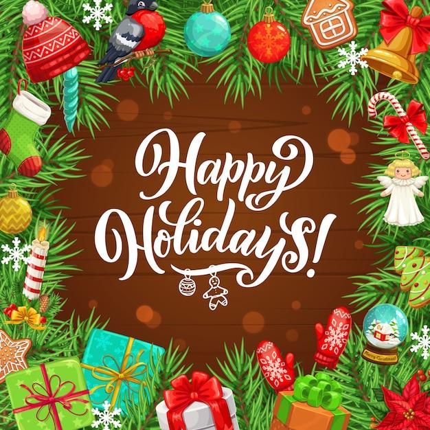 Quadro de natal da árvore de natal, presentes, arcos de sino e fita, flocos de neve, bolas e meia, bastão de doces, pão de mel e vela, design de chapéu e luva. guirlanda de férias de inverno em fundo de madeira Vetor Premium
