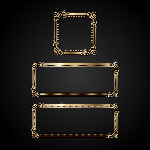 Quadro de ouro vetor de luxo Vetor Premium