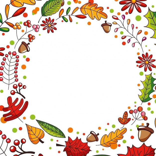 Quadro de outono com queda nas folhas Vetor Premium