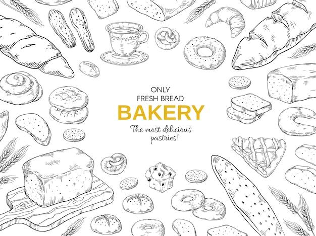 Quadro de padaria. modelo de banner de pão e biscoitos de mão desenhada. Vetor Premium