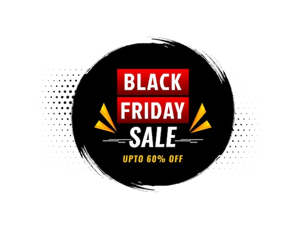 Quadro de pincelada circular fundo preto de venda sexta-feira Vetor grátis