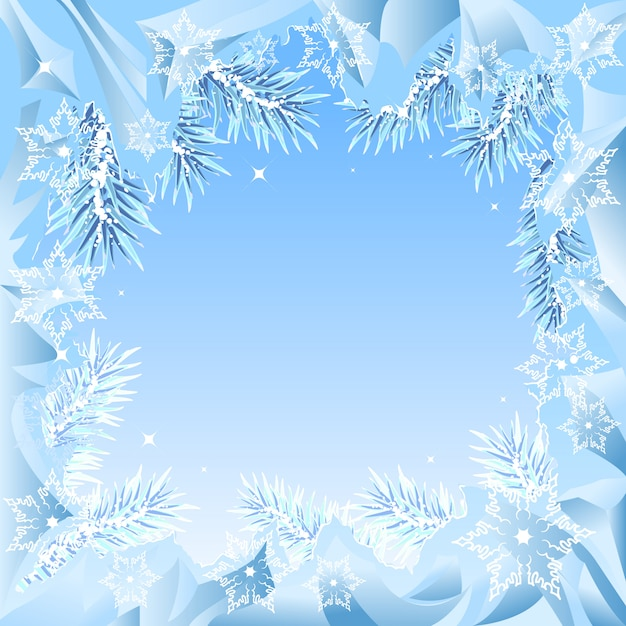 Quadro de ramos de abeto congelados Vetor Premium