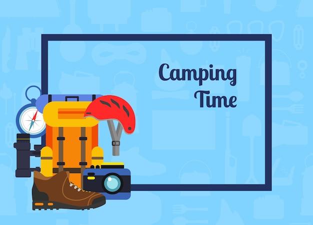 Quadro de retângulo de vetor com pilha de elementos de estilo simples camping no canto com lugar para ilustração de fundo de texto Vetor Premium