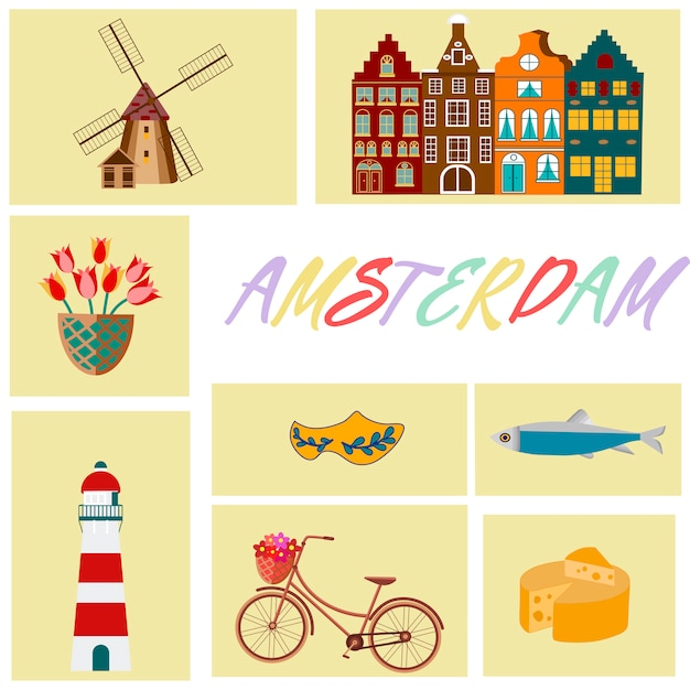 Quadro de símbolos cultural e turístico de viagens holanda com tulipas tamancos de madeira e moinhos de vento Vetor Premium