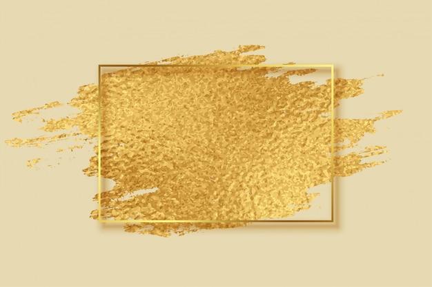 Quadro de traçado de pincel abstrato folha dourada Vetor grátis