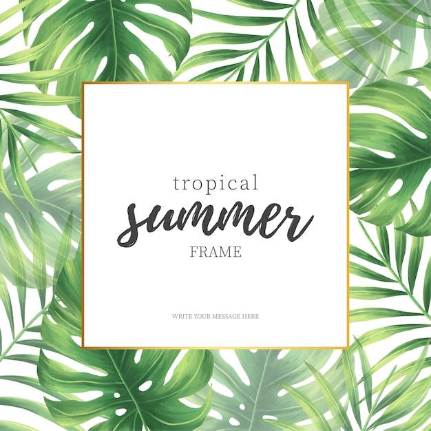 Quadro de verão tropical elegante Vetor grátis