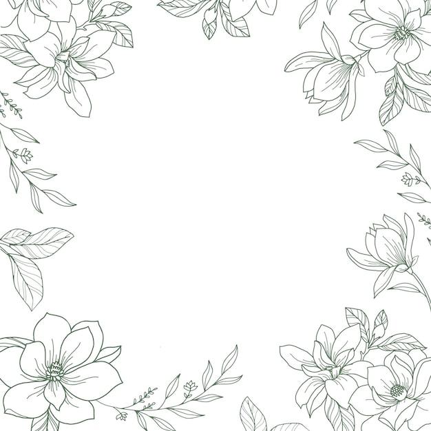 Quadro de vetor com ilustração floral botânica desenhada à mão Vetor Premium