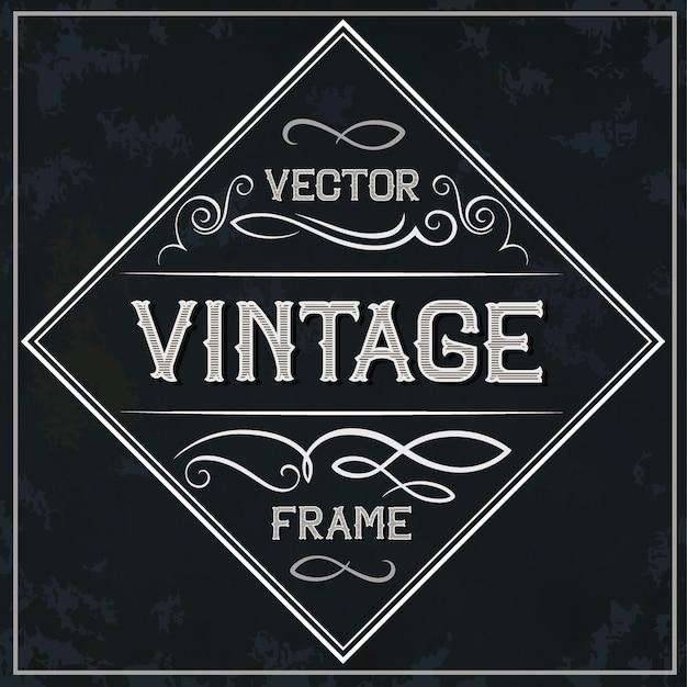 Quadro de vetor - decoração de texto vintage. monograma Vetor Premium