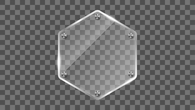 Quadro de vidro do hexágono, bandeira de vidro refletindo. Vetor Premium