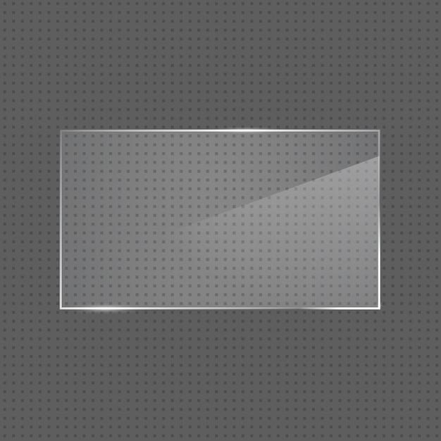 Quadro de vidro retangular brilhante realista de vetor Vetor Premium