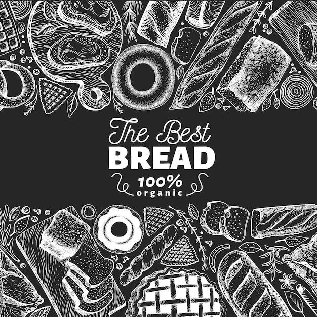 Quadro de vista superior de padaria. entregue a ilustração tirada do vetor com pão e pastelaria na placa de giz. Vetor Premium