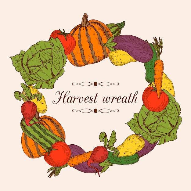 Quadro decorativo colorido em forma de grinalda redonda de legumes frescos Vetor grátis