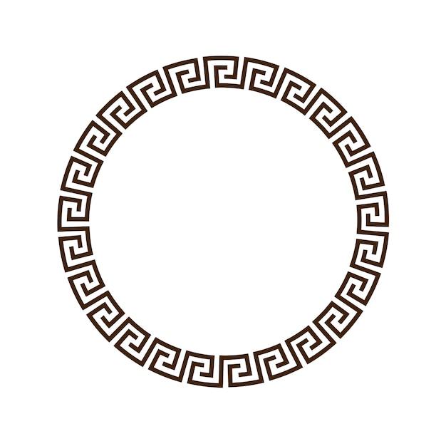 Quadro decorativo redondo grego para design Vetor Premium