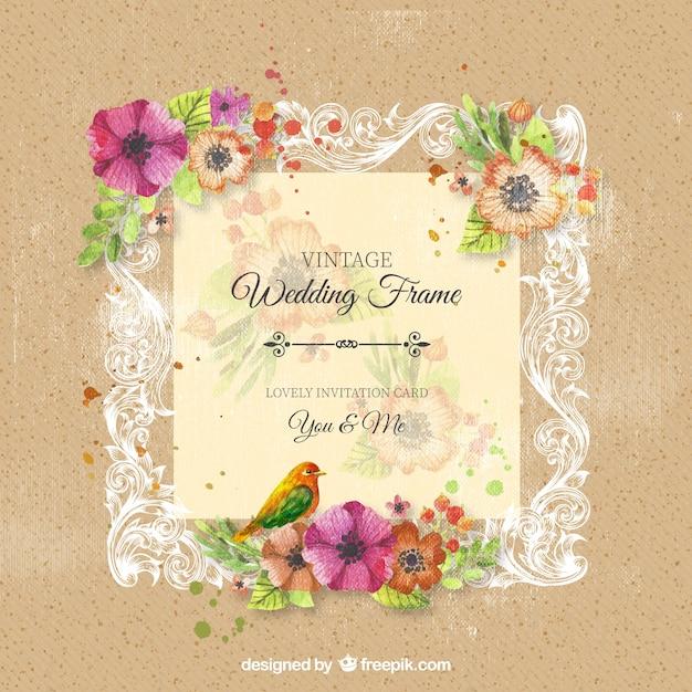 Quadro do casamento ornamental do vintage com flores Vetor Premium