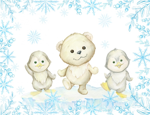 Quadro em aquarela. animais polares fofos, urso polar branco e pinguins, dançando. Vetor Premium