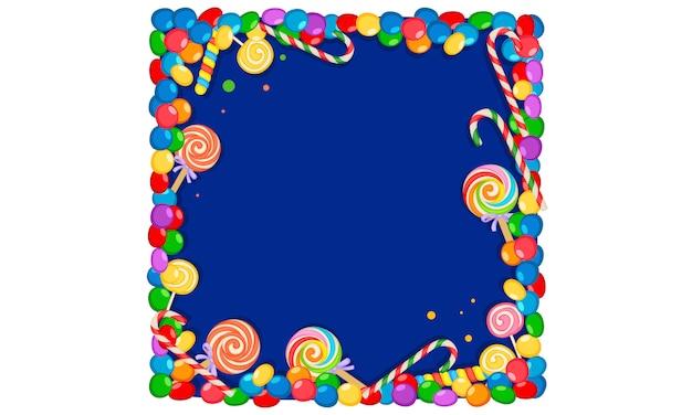 Quadro em branco de doces coloridos Vetor Premium