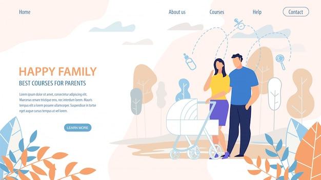 Quadro família feliz melhores cursos para os pais. Vetor Premium