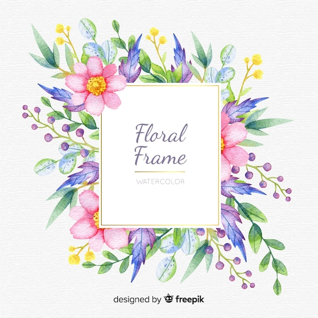 Quadro floral aquarela colorida Vetor grátis