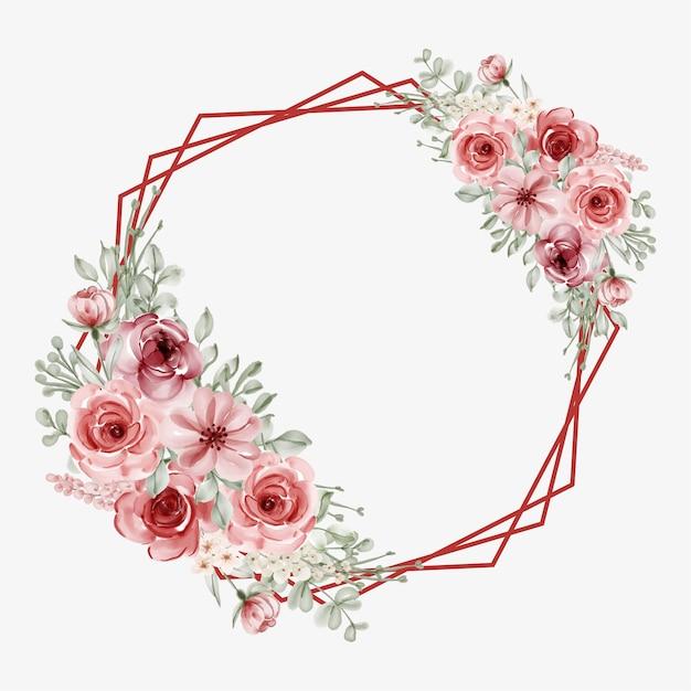 Quadro floral aquarela com borda de linha circular Vetor grátis